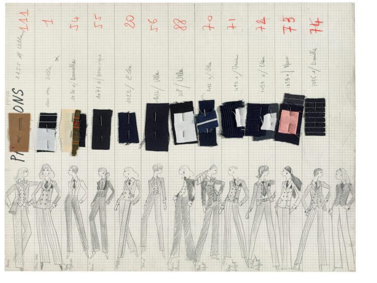 amostras de tecido têxtil para vestuário com esboços a lápis de vestuário