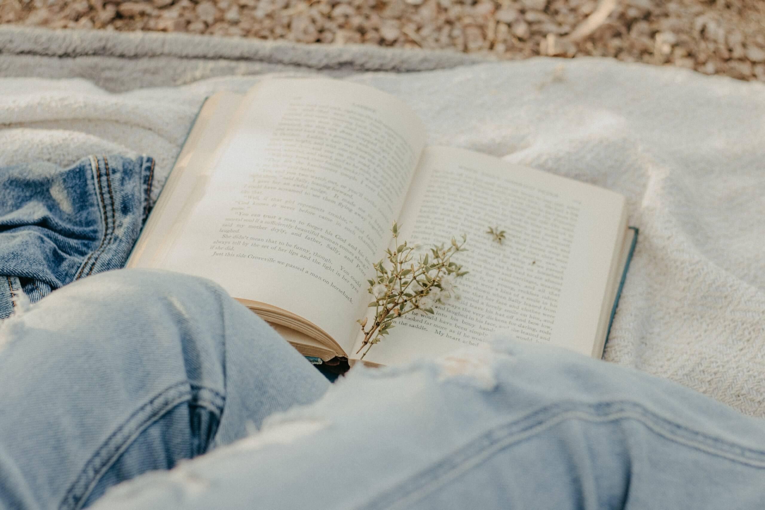 livro aberto sobre uma manta
